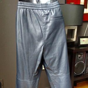 Vince Pants - Men's VINCE Black Leather Jogger Pants Lambskin